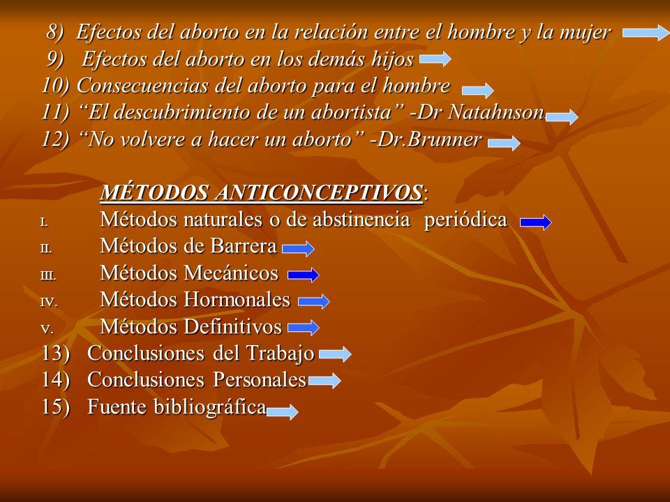 8) Efectos del aborto en la relación entre el hombre y la mujer