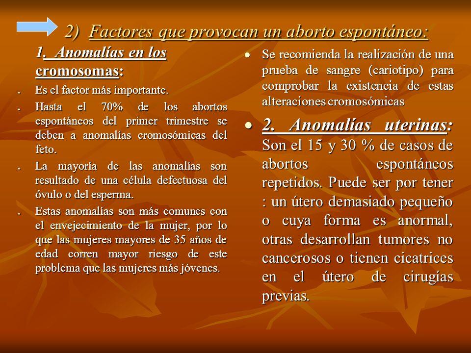 2) Factores que provocan un aborto espontáneo: