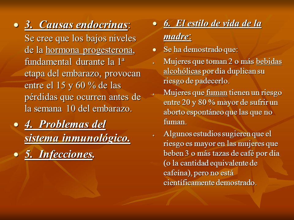 4. Problemas del sistema inmunológico. 5. Infecciones.