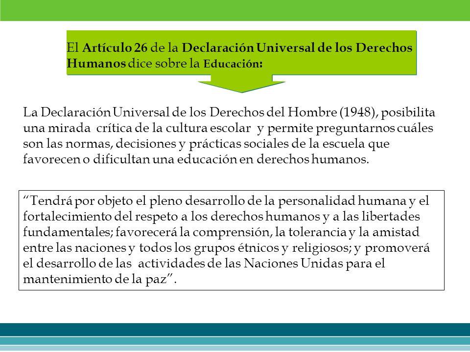 El Artículo 26 de la Declaración Universal de los Derechos Humanos dice sobre la Educación: