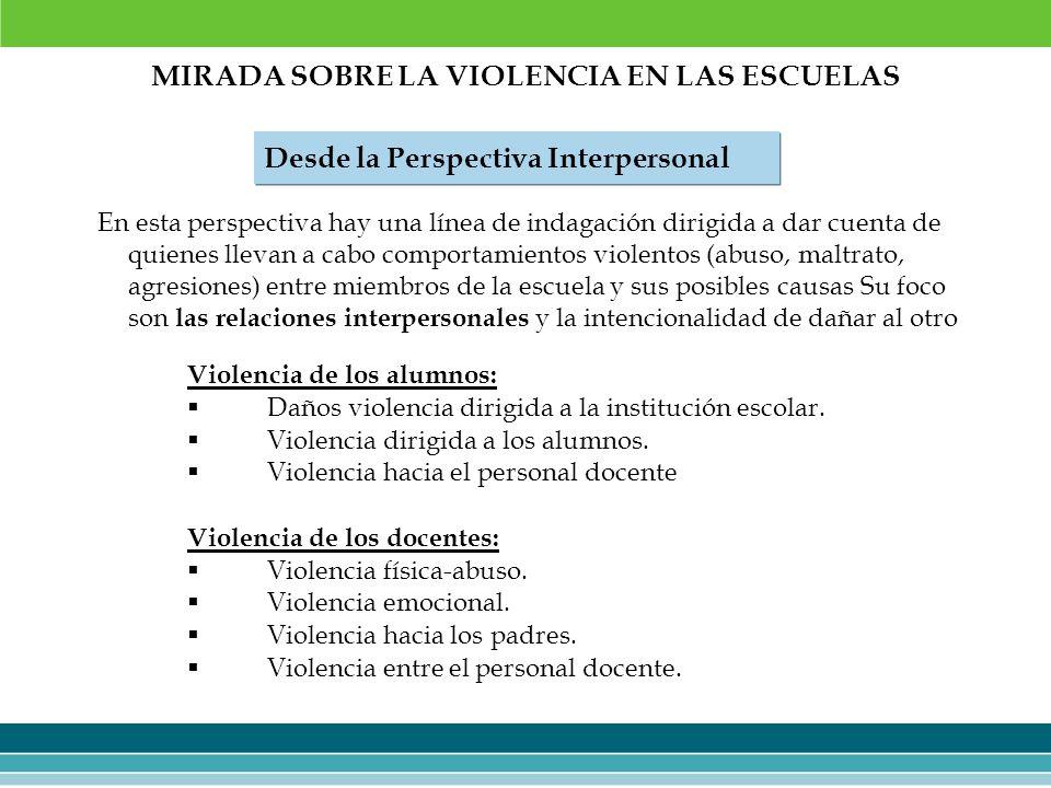 MIRADA SOBRE LA VIOLENCIA EN LAS ESCUELAS