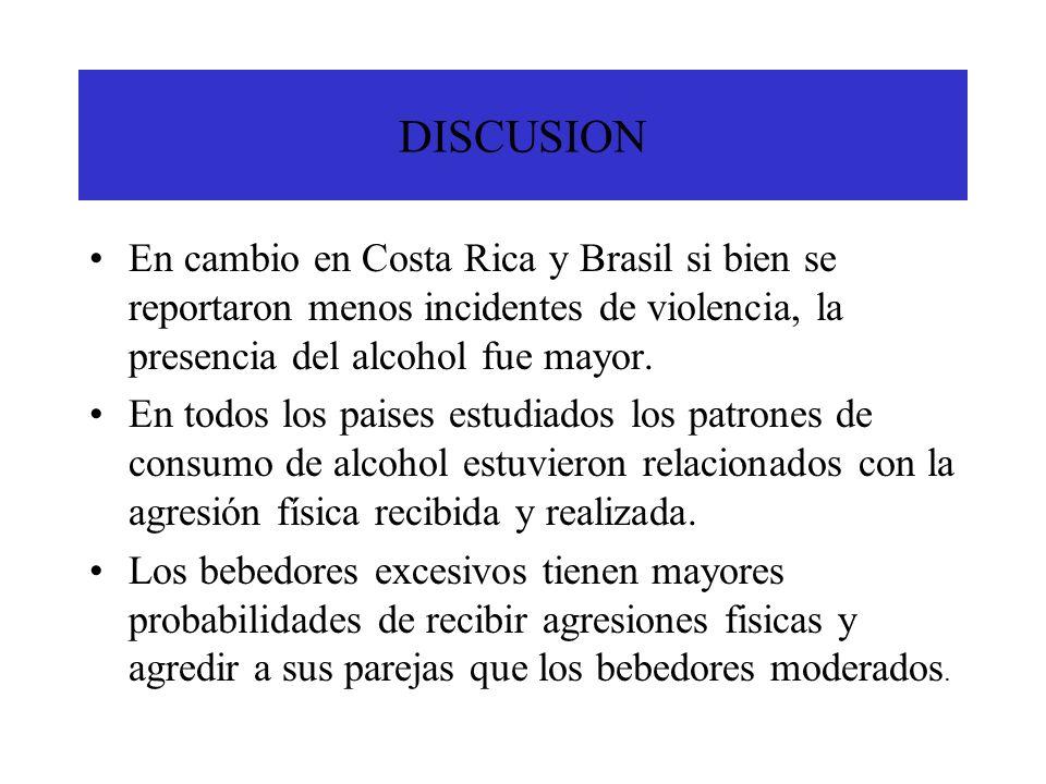 DISCUSION En cambio en Costa Rica y Brasil si bien se reportaron menos incidentes de violencia, la presencia del alcohol fue mayor.
