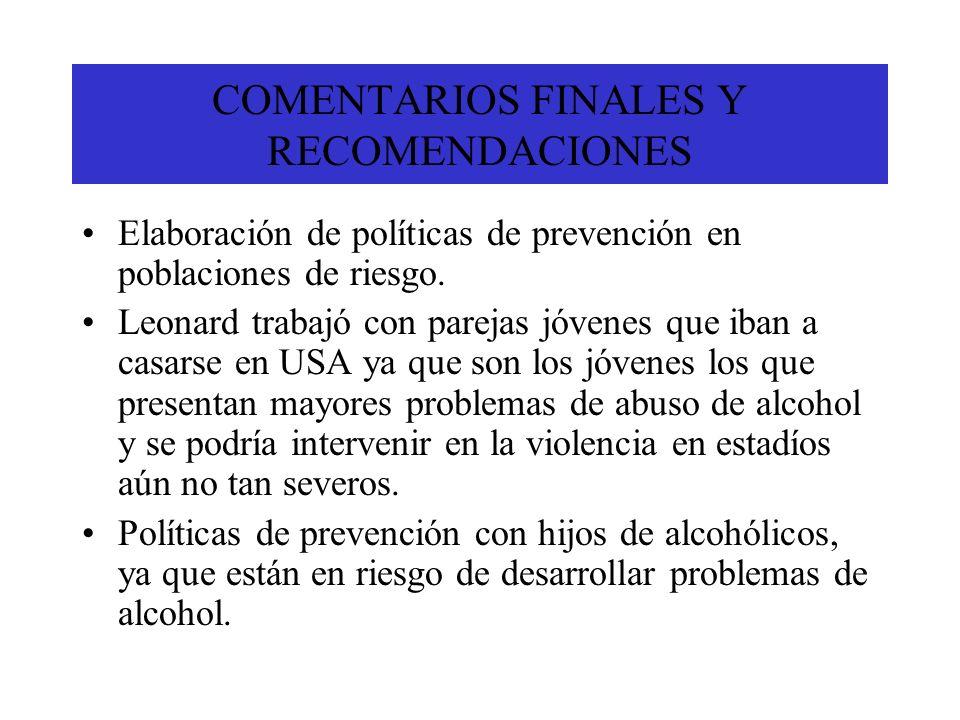 COMENTARIOS FINALES Y RECOMENDACIONES