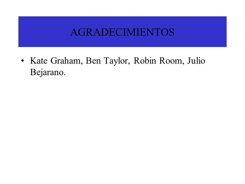 AGRADECIMIENTOS Kate Graham, Ben Taylor, Robin Room, Julio Bejarano.
