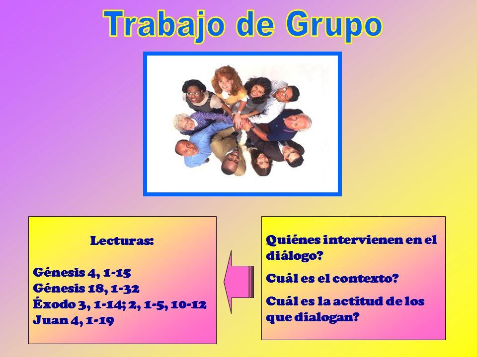 Trabajo de Grupo Lecturas: Quiénes intervienen en el diálogo