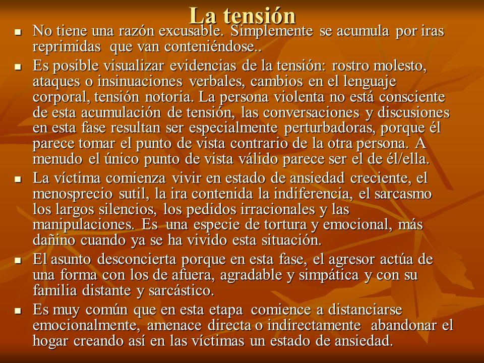 La tensión No tiene una razón excusable. Simplemente se acumula por iras reprimidas que van conteniéndose..