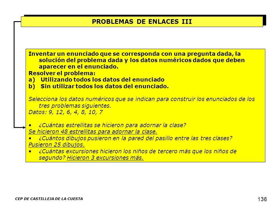 PROBLEMAS DE ENLACES III CEP DE CASTILLEJA DE LA CUESTA