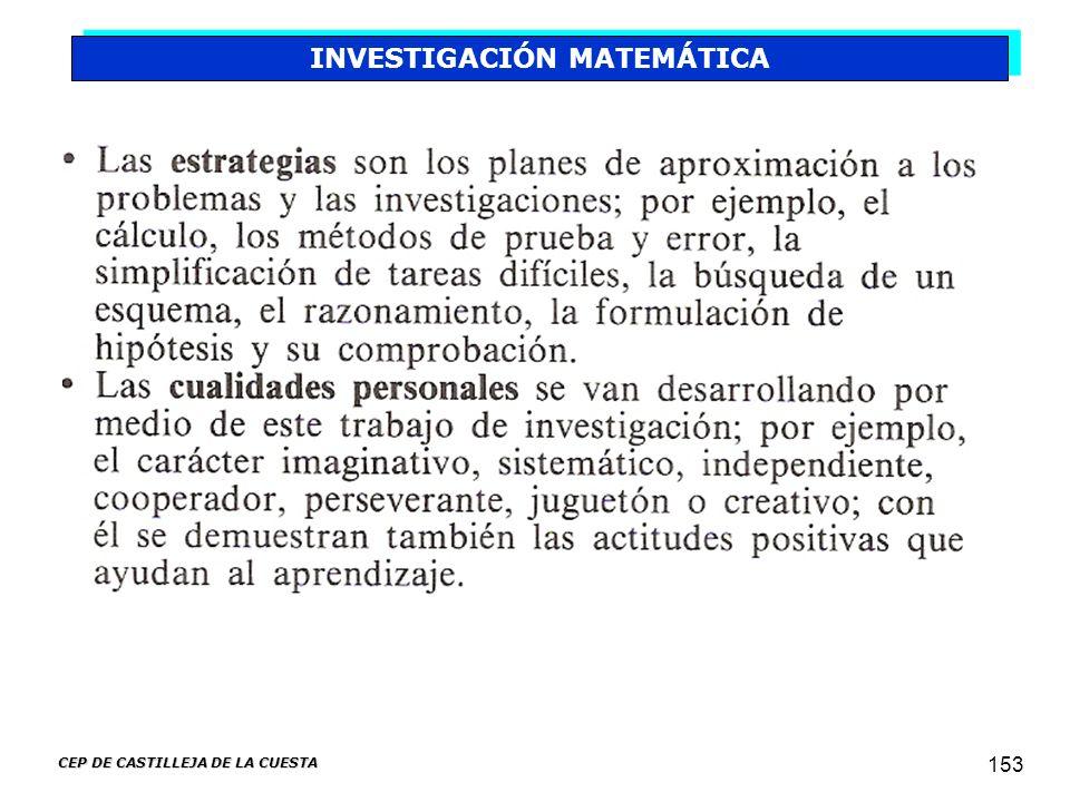 INVESTIGACIÓN MATEMÁTICA CEP DE CASTILLEJA DE LA CUESTA
