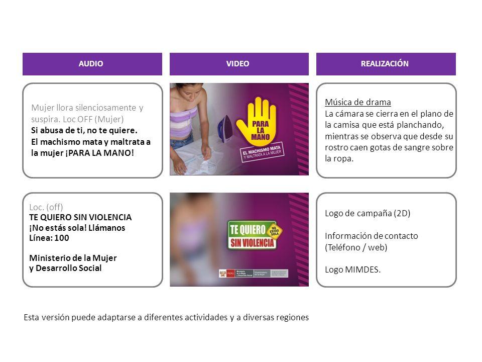 Información de contacto (Teléfono / web) Logo MIMDES.