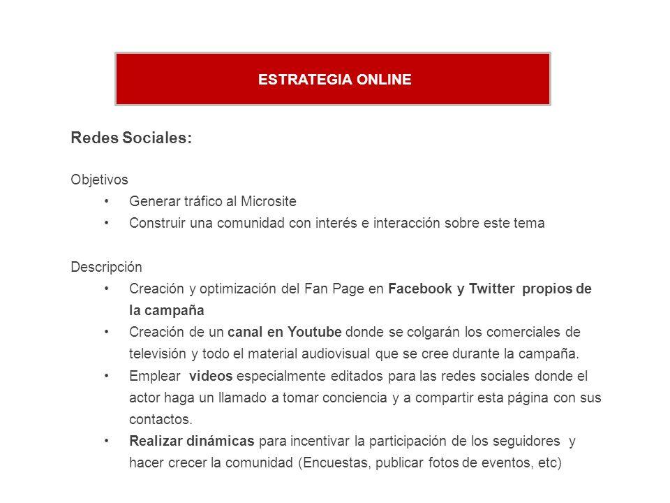 Redes Sociales: ESTRATEGIA ONLINE Objetivos