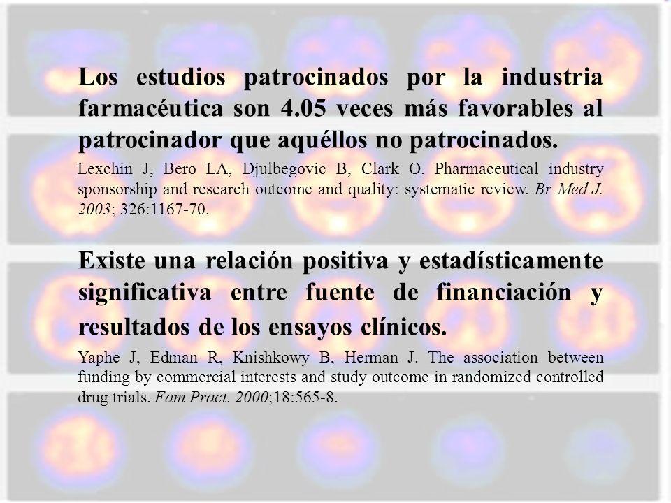 Los estudios patrocinados por la industria farmacéutica son 4