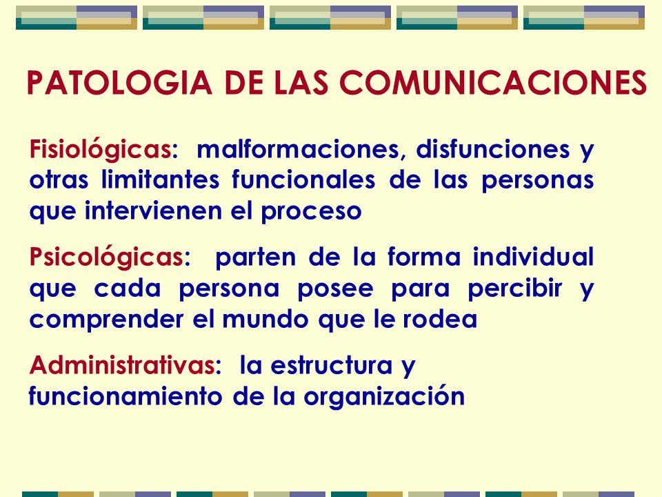 PATOLOGIA DE LAS COMUNICACIONES