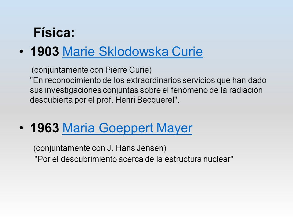 1903 Marie Sklodowska Curie