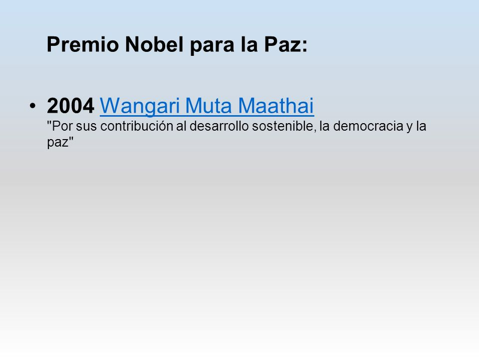 Premio Nobel para la Paz:
