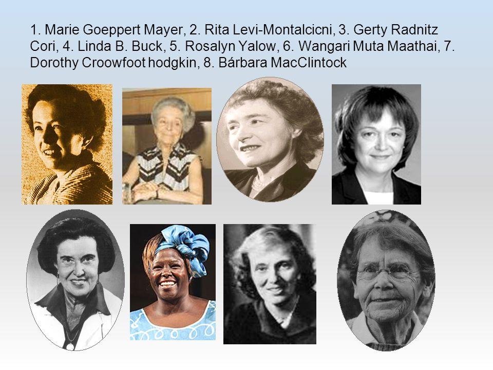 1. Marie Goeppert Mayer, 2. Rita Levi-Montalcicni, 3