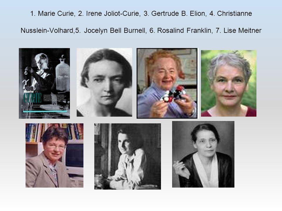 1. Marie Curie, 2. Irene Joliot-Curie, 3. Gertrude B. Elion, 4
