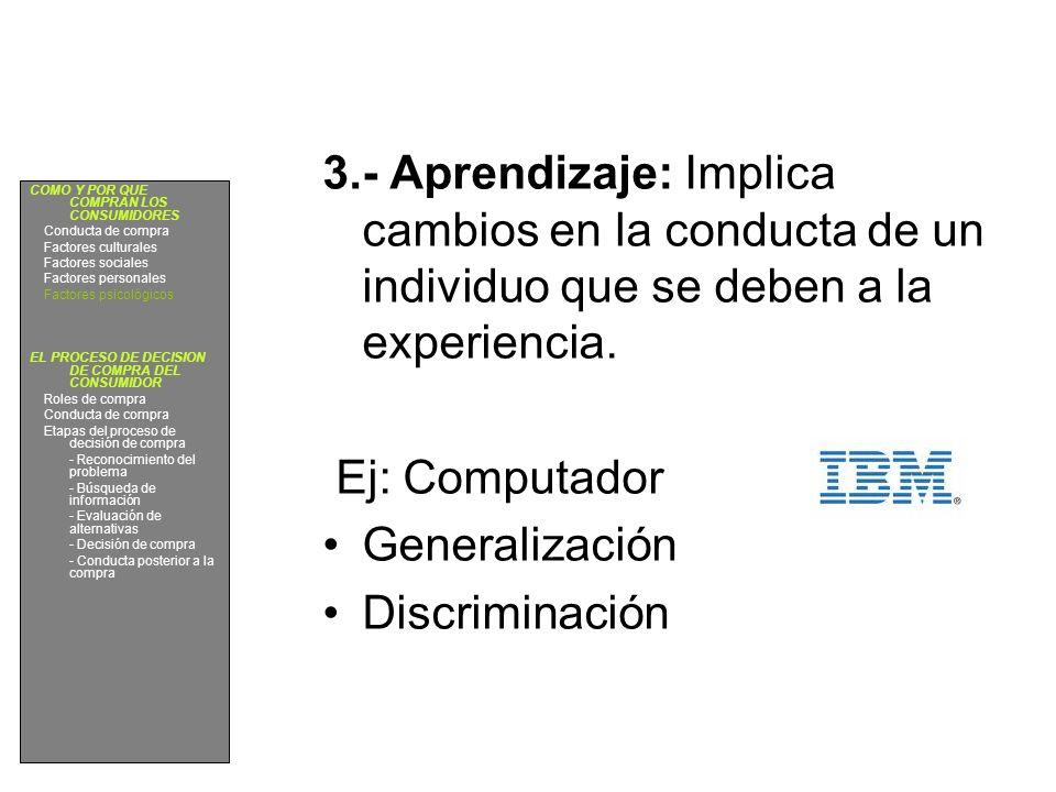 3.- Aprendizaje: Implica cambios en la conducta de un individuo que se deben a la experiencia.