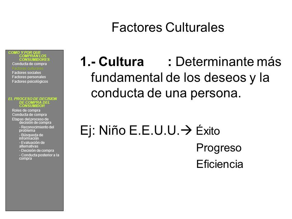 Factores Culturales COMO Y POR QUE COMPRAN LOS CONSUMIDORES. Conducta de compra. Factores culturales.
