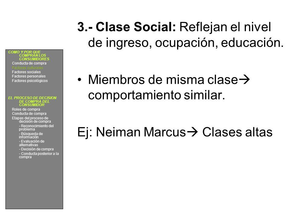 3.- Clase Social: Reflejan el nivel de ingreso, ocupación, educación.