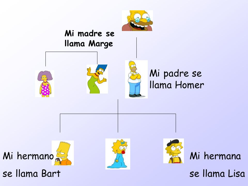 Mi padre se llama Homer Mi hermano se llama Bart Mi hermana