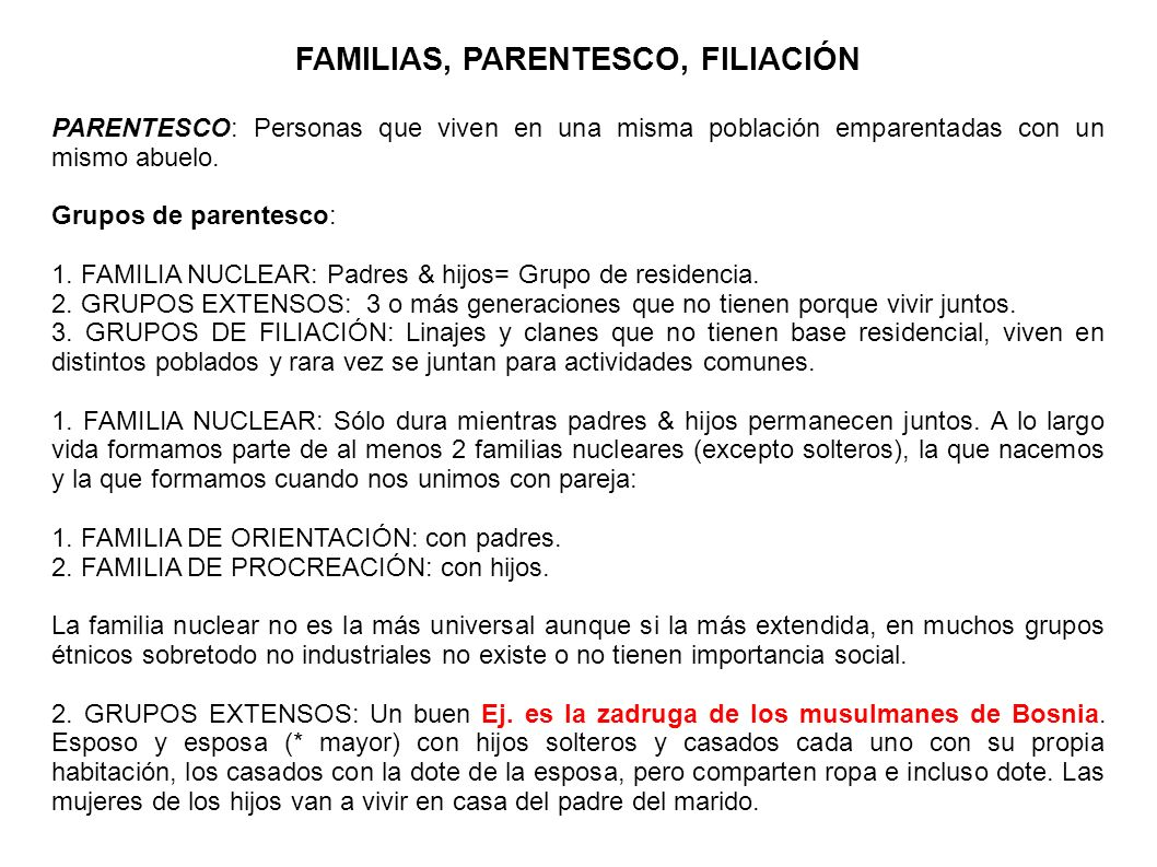 FAMILIAS, PARENTESCO, FILIACIÓN