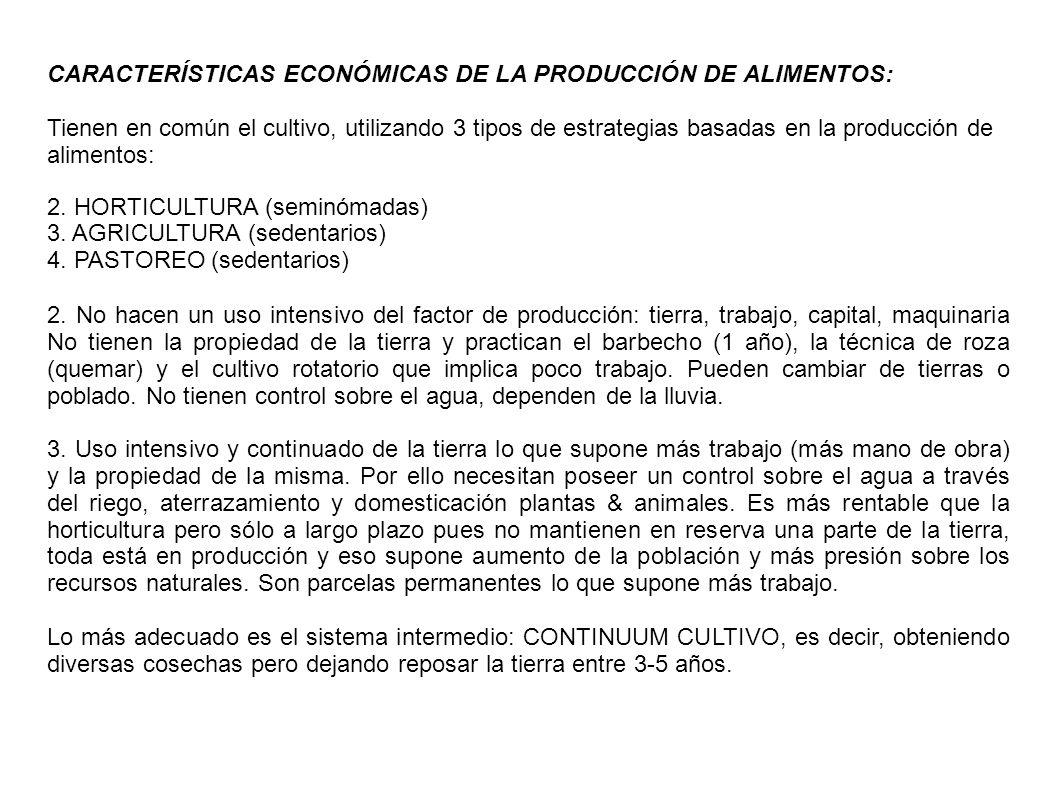 CARACTERÍSTICAS ECONÓMICAS DE LA PRODUCCIÓN DE ALIMENTOS: