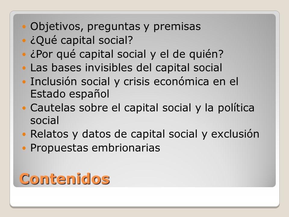 Contenidos Objetivos, preguntas y premisas ¿Qué capital social