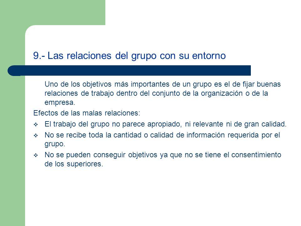 9.- Las relaciones del grupo con su entorno