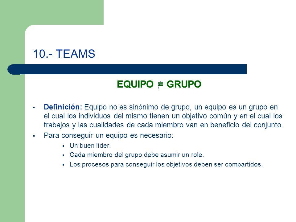 10.- TEAMS EQUIPO = GRUPO.