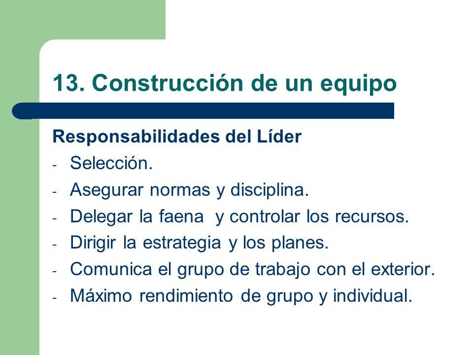 13. Construcción de un equipo