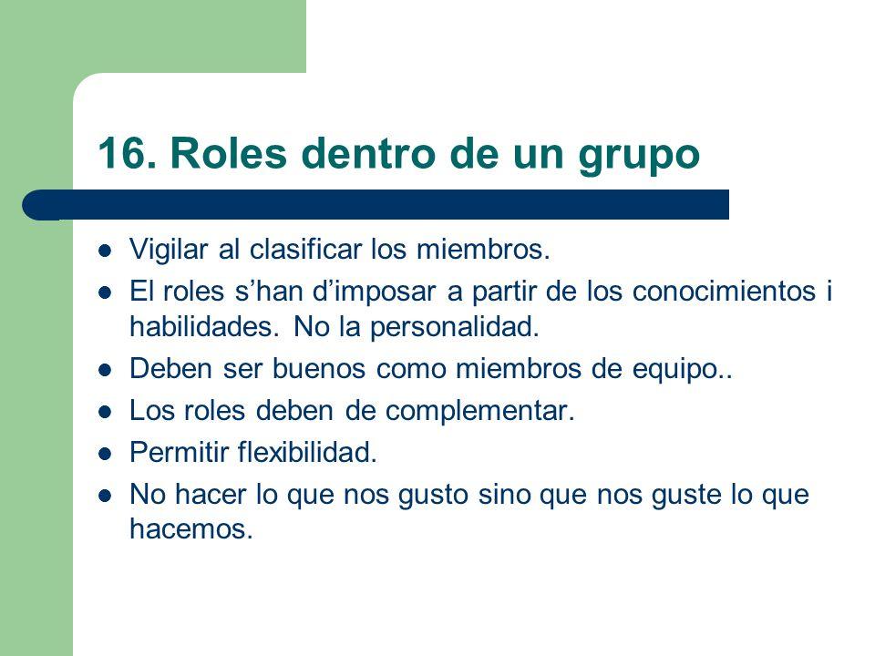 16. Roles dentro de un grupo