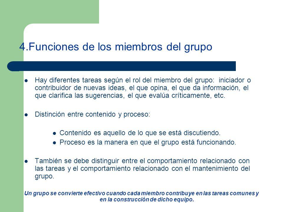 4.Funciones de los miembros del grupo