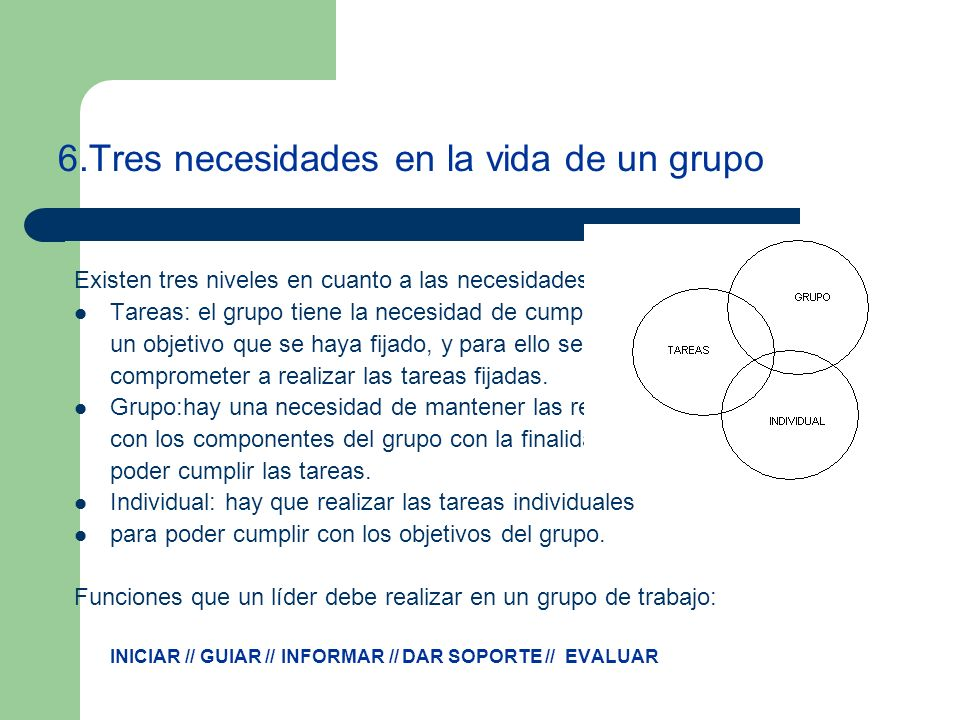 6.Tres necesidades en la vida de un grupo