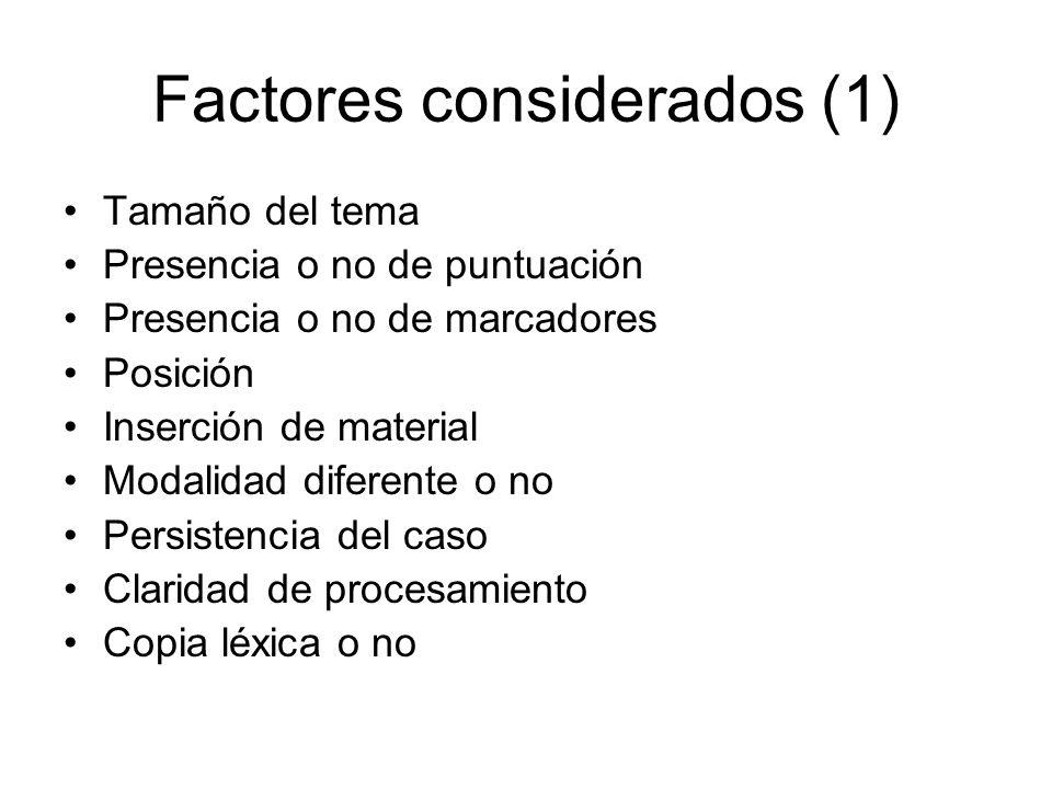 Factores considerados (1)