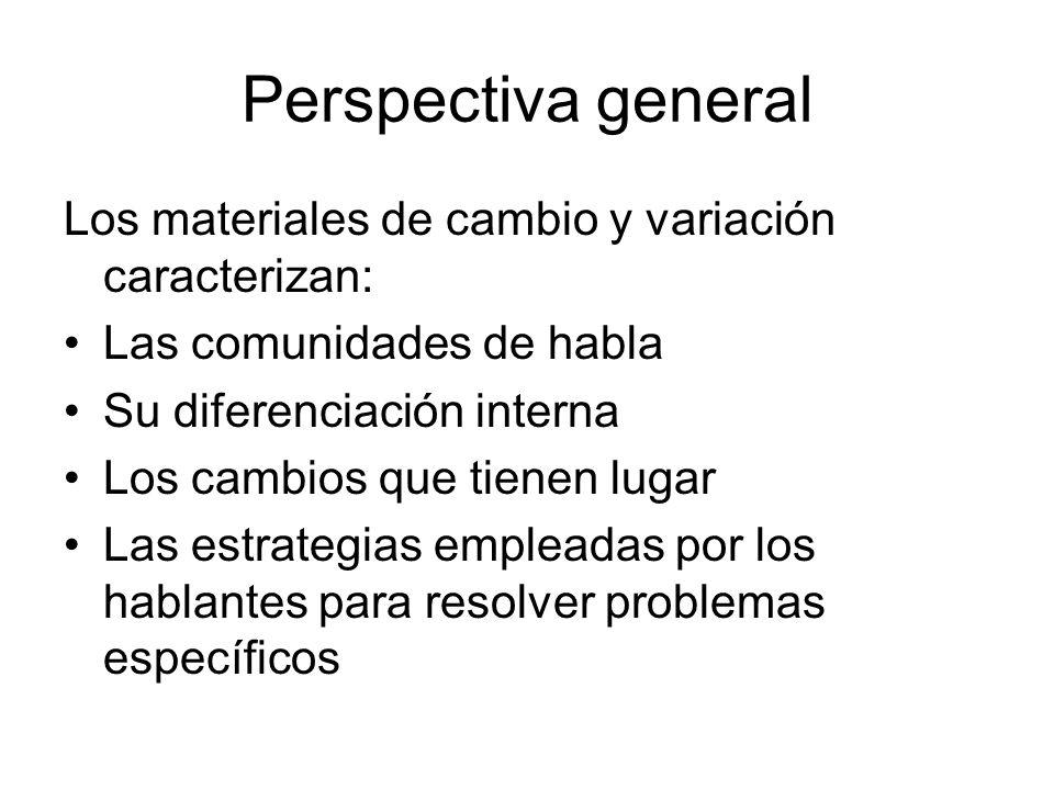 Perspectiva general Los materiales de cambio y variación caracterizan: