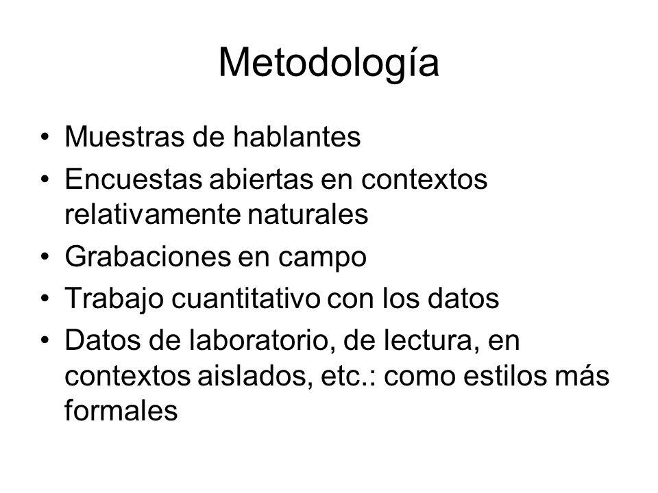 Metodología Muestras de hablantes