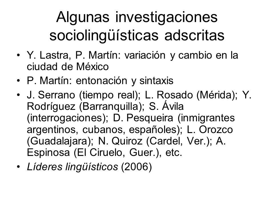 Algunas investigaciones sociolingüísticas adscritas