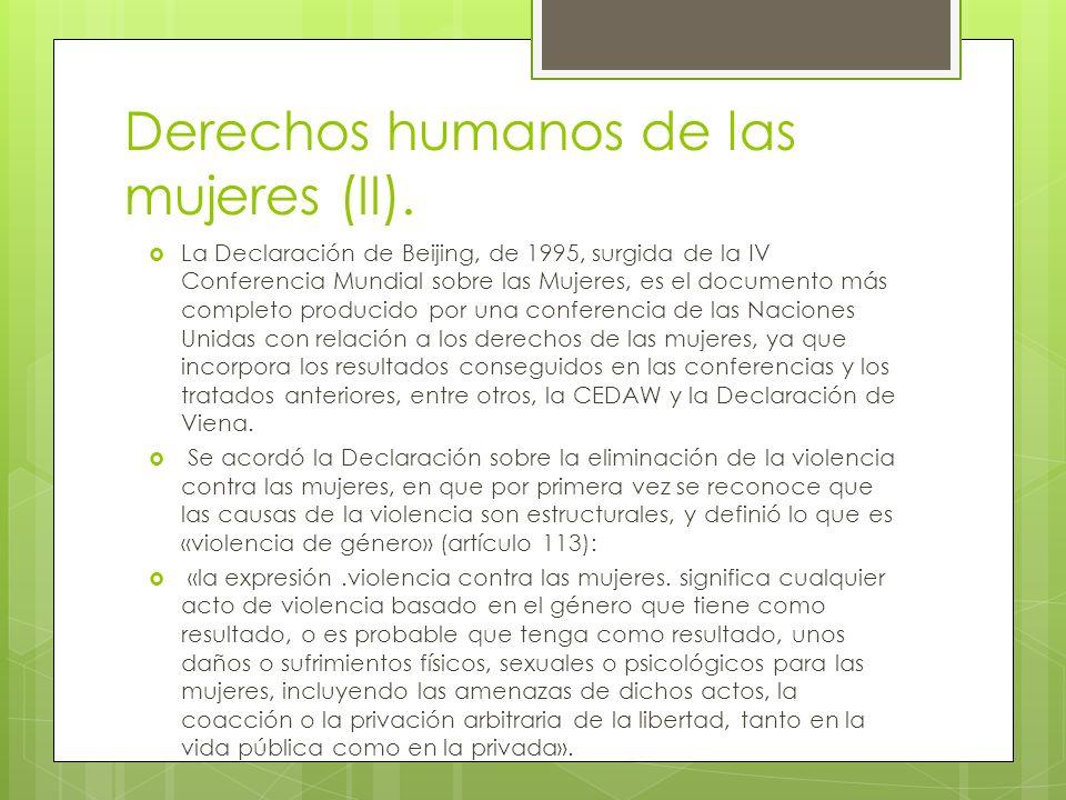 Derechos humanos de las mujeres (II).