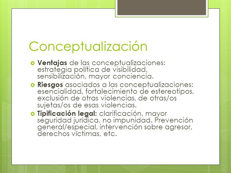 Conceptualización Ventajas de las conceptualizaciones: estrategia política de visibilidad, sensibilización, mayor conciencia.