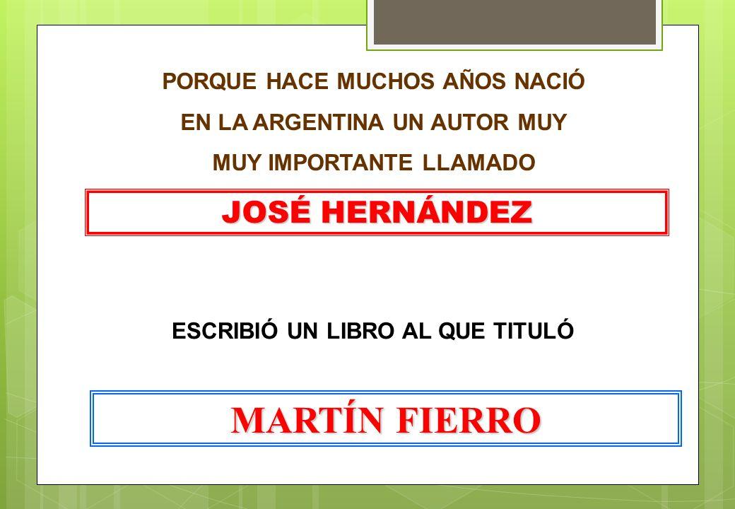 MARTÍN FIERRO JOSÉ HERNÁNDEZ PORQUE HACE MUCHOS AÑOS NACIÓ