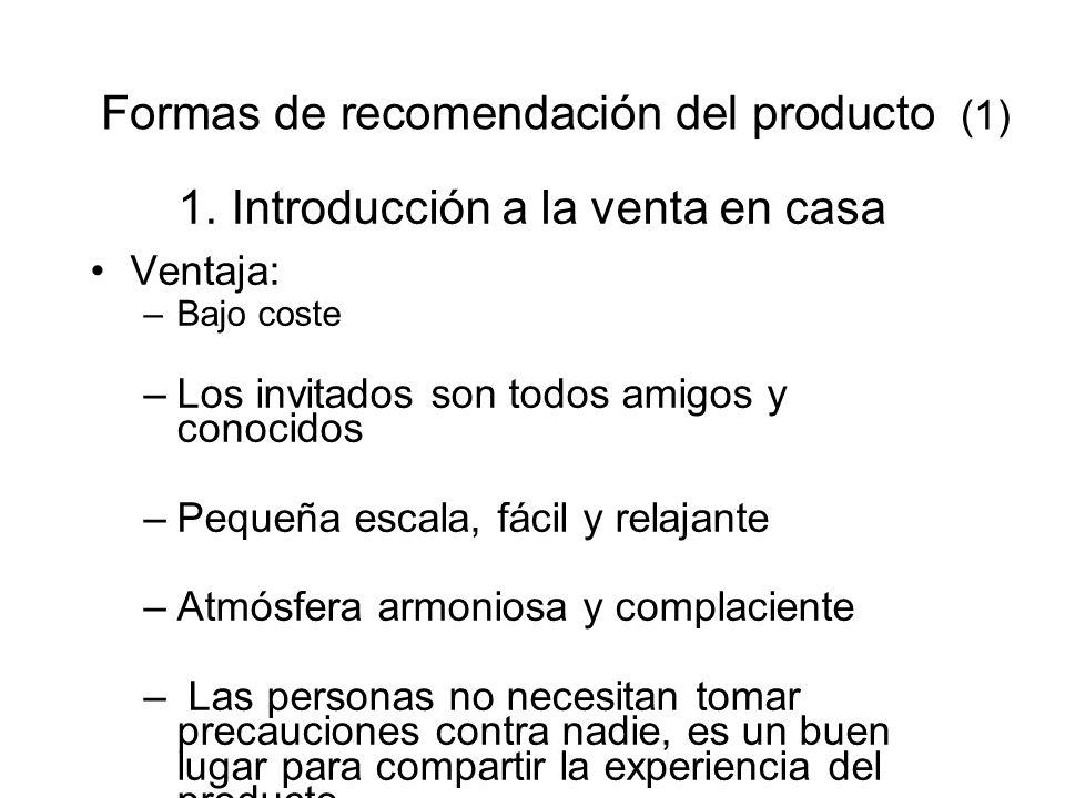 Formas de recomendación del producto (1)