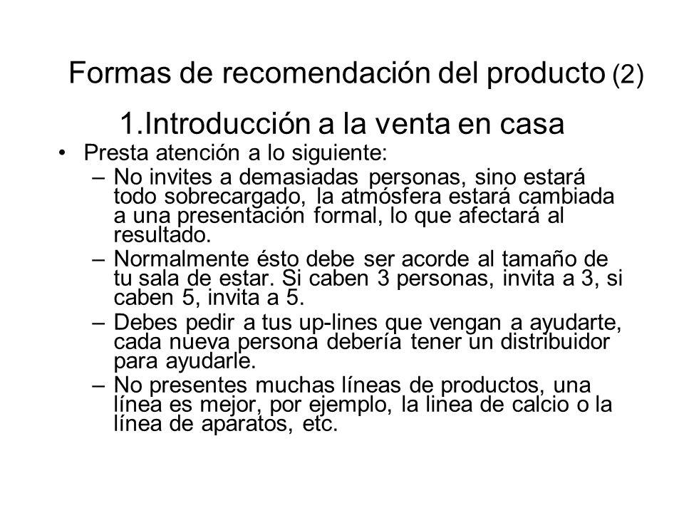 Formas de recomendación del producto (2)