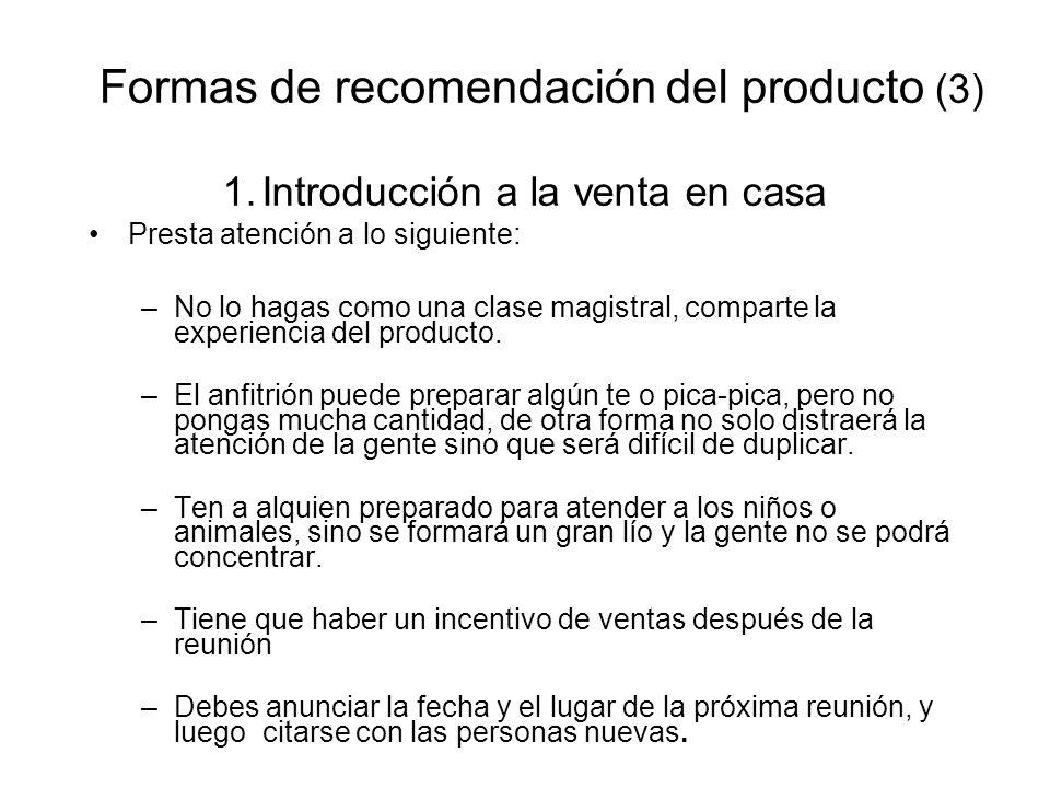 Formas de recomendación del producto (3)