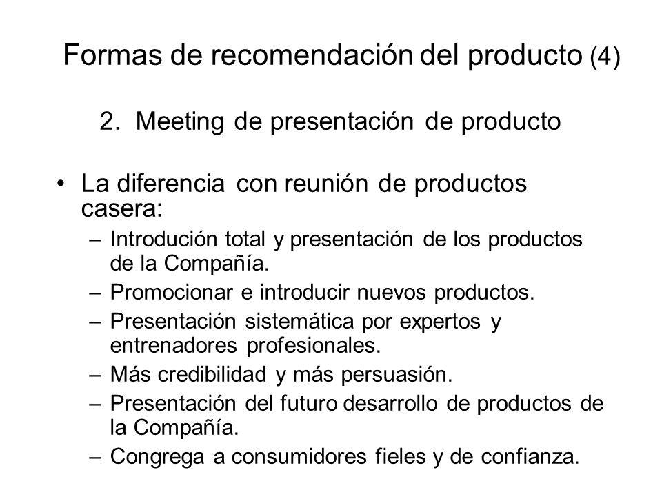 Formas de recomendación del producto (4)