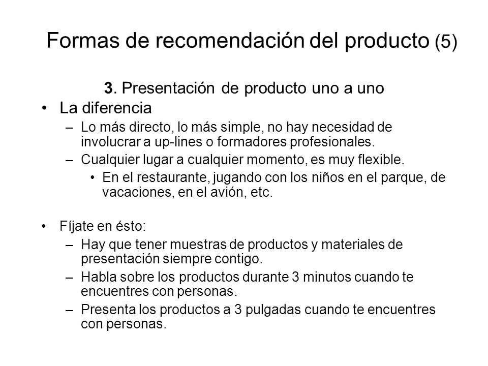 Formas de recomendación del producto (5)