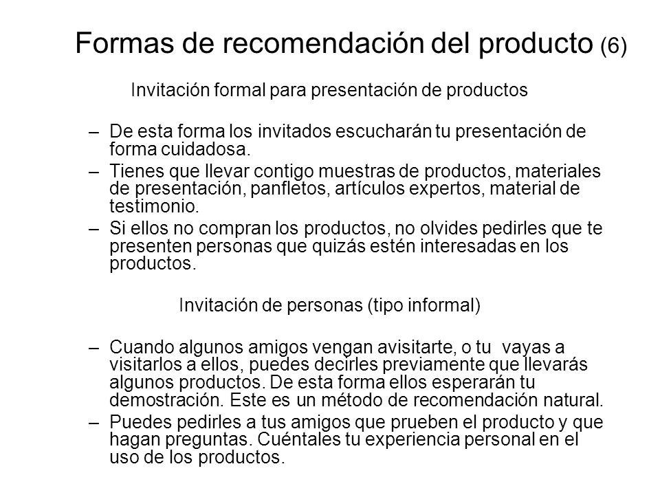 Formas de recomendación del producto (6)