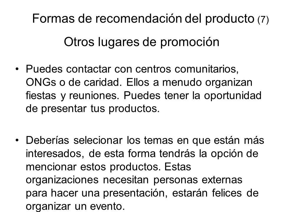 Formas de recomendación del producto (7)