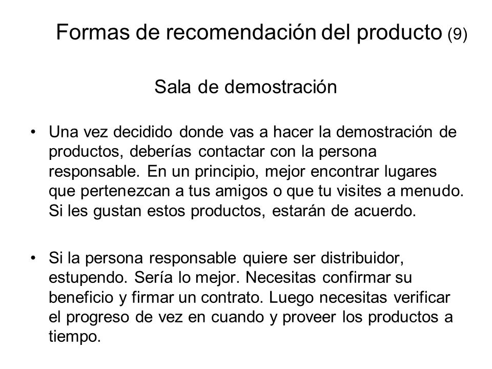 Formas de recomendación del producto (9)