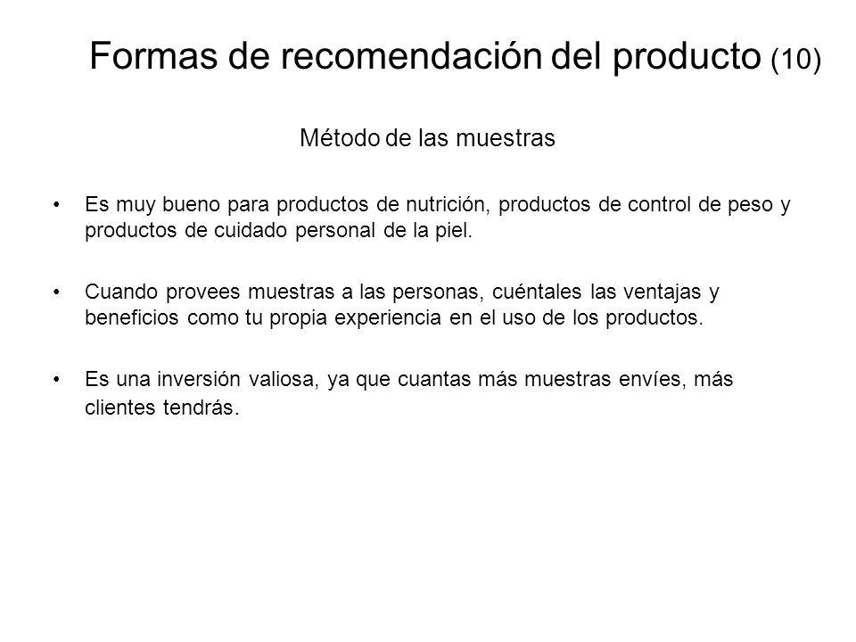 Formas de recomendación del producto (10)