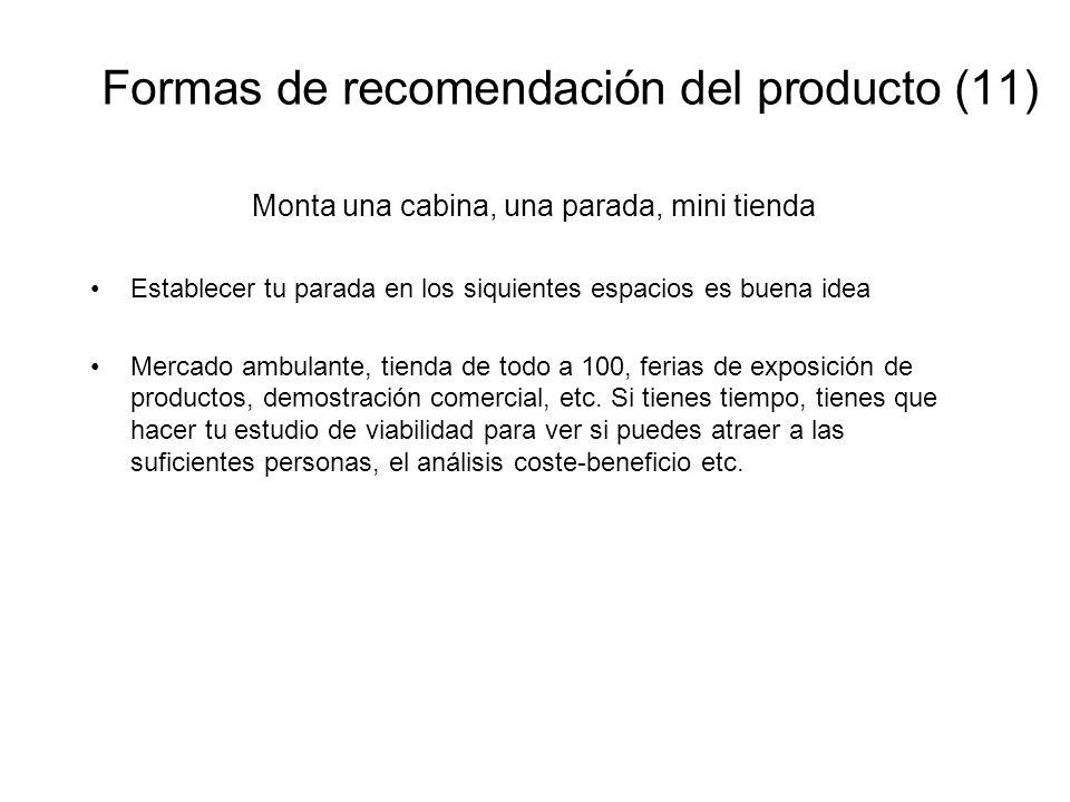 Formas de recomendación del producto (11)